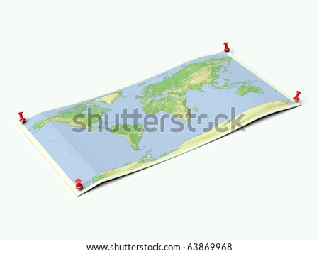 World map with country borders on unfolded map sheet with thumbtacks. - stock photo