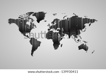 World map with 3d-effect. Raster version. Vector version is also available. - stock photo