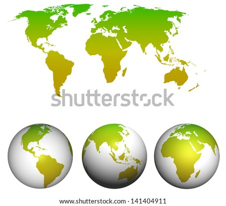 World map with earth globes isolated on white. - stock photo