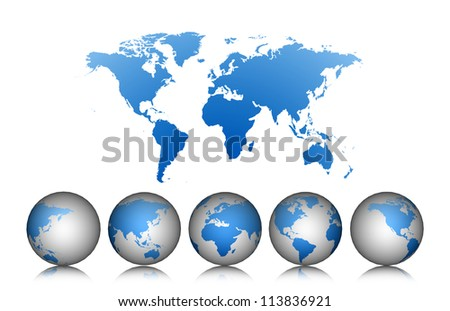 World map with earth globes isolated on white background