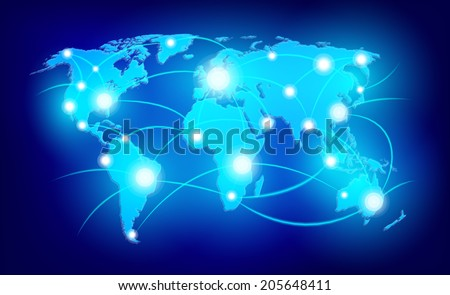 World map with glowing points connecting on dark background