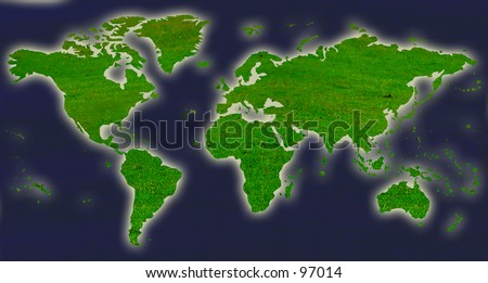 World map with grass and water textures - stock photo