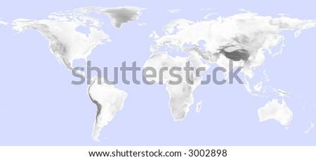 World Map Grayscale Elevation On Black Stock Illustration - Elevation world