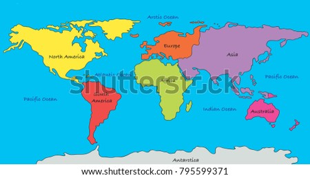 World map highlighted continents different colors ilustracin en world map with highlighted continents in different colors gumiabroncs Image collections