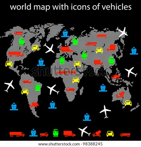 world map with icons of transport for traveling. Vector version also available in portfolio. - stock photo