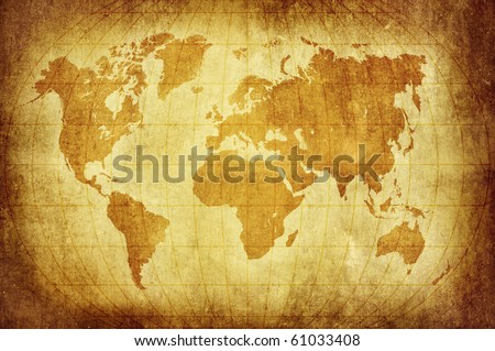 world map with Latitude and Longitude lines in vintage pattern - stock photo