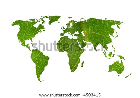 world map with leaf texture - stock photo