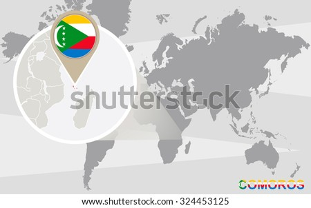 World map with magnified Comoros. Comoros flag and map