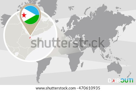 World map with magnified Djibouti. Djibouti flag and map. Raster copy.
