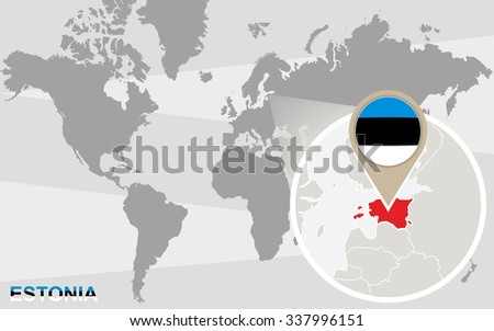World map with magnified Estonia. Estonia flag and map. Rasterized Copy. - stock photo