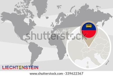 World Map Magnified Liechtenstein Liechtenstein Flag Stock