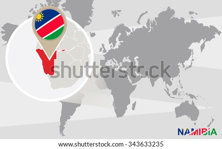 World map with magnified Namibia. Namibia flag and map. Rasterized Copy. - stock photo