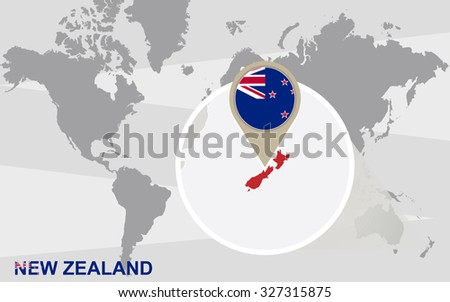 World map with magnified New Zealand. New Zealand flag and map. Rasterized Copy. - stock photo