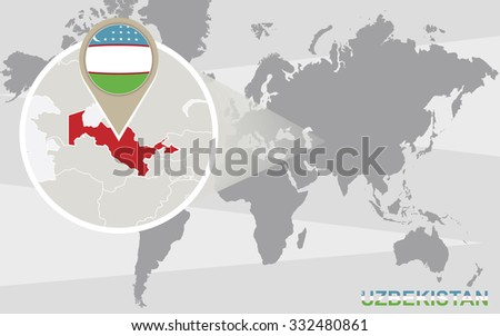 Zoom on south africa map flag stock vector 293776673 shutterstock world map with magnified uzbekistan uzbekistan flag and map rasterized copy gumiabroncs Choice Image