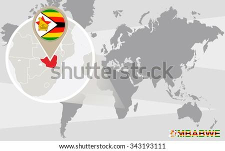 World map with magnified Zimbabwe. Zimbabwe flag and map. Rasterized Copy. - stock photo