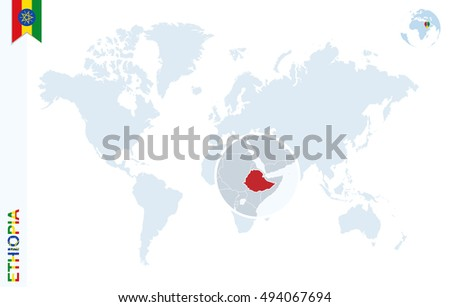 World map magnifying on ethiopia blue stock illustration 494067694 world map with magnifying on ethiopia blue earth globe with ethiopia flag pin zoom gumiabroncs Images