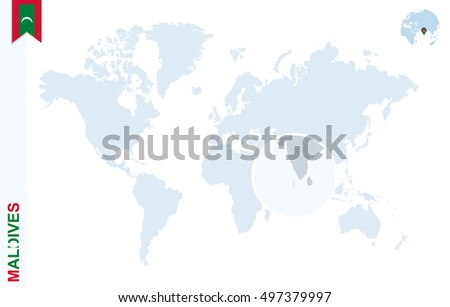 World Map Magnifying On Maldives Blue Stock Illustration 497379997
