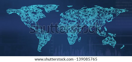 world map with pcb texture in blue tone - stock photo
