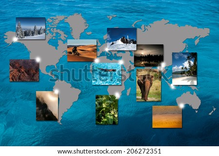 World map with photos of different geographic locations - stock photo