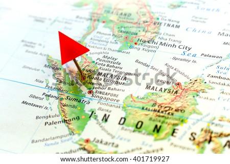 World Map With Pin On Capital City Of Malaysia   Kuala Lumpur.