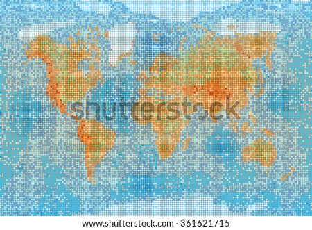 World map with relief depth and height. - stock photo