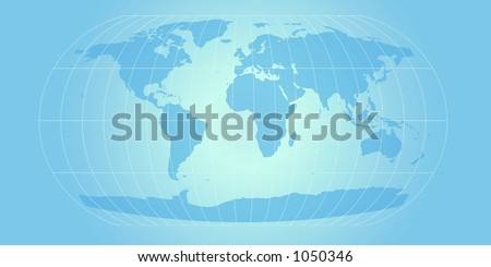 world map with retro feel in powder blue - stock photo