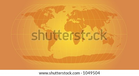 world map with retro feel - orange version - stock photo