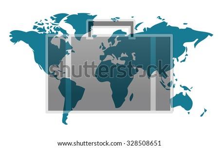 World map with suitcase isolated on white background - stock photo