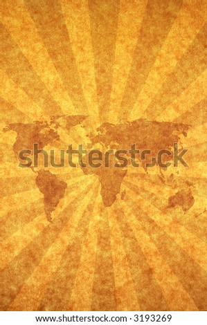 world map with sunbeam on paper background Map: http://www.lib.utexas.edu/maps/world_maps/world_pol02.jpg copyright:http://www.lib.utexas.edu/maps/faq.html#3.html - stock photo