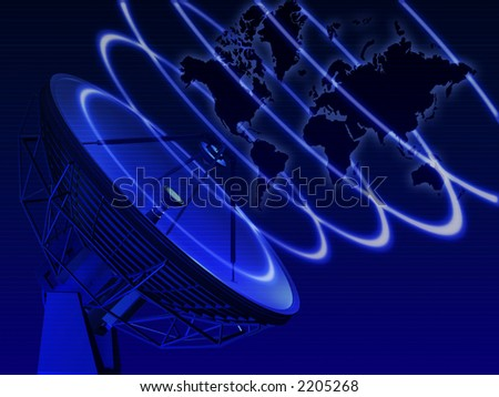 World map with telecommunication equipment - stock photo