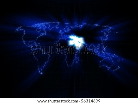 World map with the Middle East glowing with black background. - stock photo