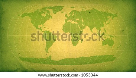world map with vintage texture in green - stock photo