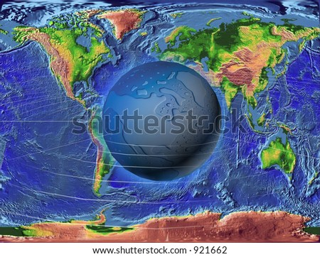 World map with water globe - stock photo