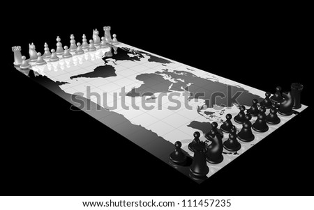 World map with white and black chess piece, illustrating the concepts of world domination, war, global competition - stock photo