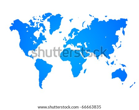 World map with white background - stock photo