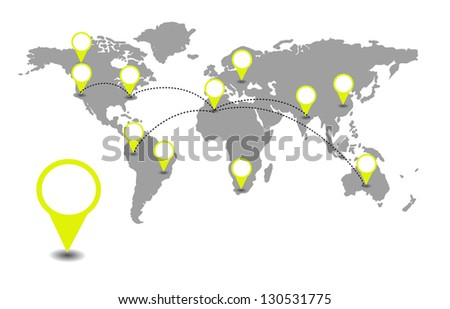 World map with yellow location pointers - stock photo