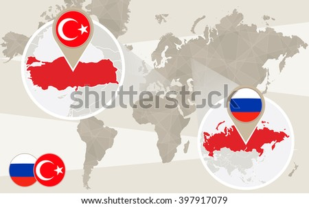 World map zoom on Turkey, Russia. Conflict. Turkey map with flag. Russia map with flag. Raster copy. - stock photo