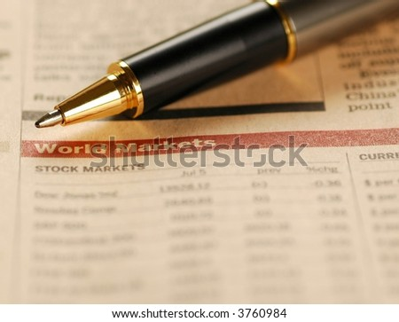 World markets report and a pen