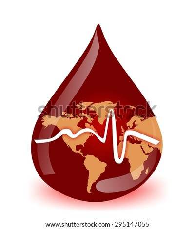 world medical blood drop with pulse - stock photo