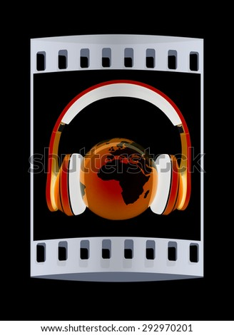 World music 3D render of planet Earth with headphones  on a black background. The film strip - stock photo