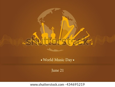 World Music Day. Illustration music day. Brown background with music. Important day - stock photo
