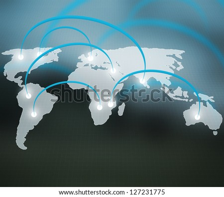 World Network Blue Background - stock photo