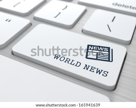 World News - Button with Newspaper Icon on White Computer Keyboard. Mass Media Concept.