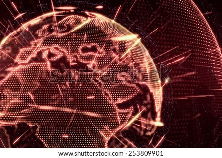 World News Earth Globe glow shine lines transparent illustration red - stock photo