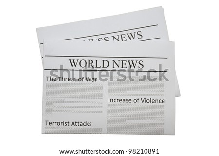 World news newspaper isolated on white - stock photo
