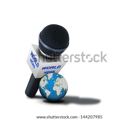 World news reporting microphone. Elements of this image furnished by NASA - stock photo