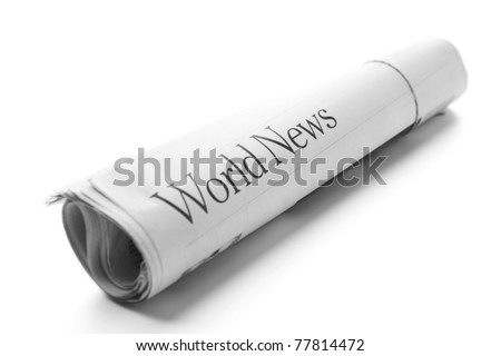 World News -Roll of newspapers - stock photo