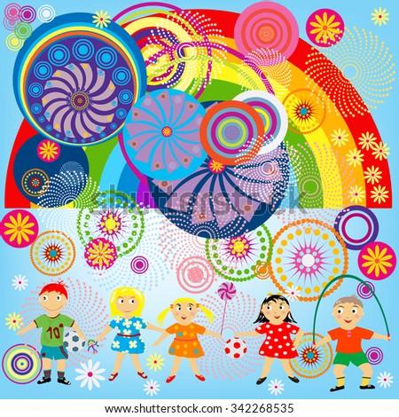 World of children, happy kids playing - stock photo