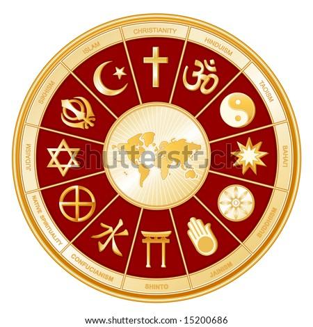 World of Faiths. 12 world religions in golden circle around world map, red BG: Buddhism, Islam, Hindu, Taoism, Christianity, Sikh, Native Spirituality, Confucian, Shinto, Baha'i, Jain, Judaism. - stock photo