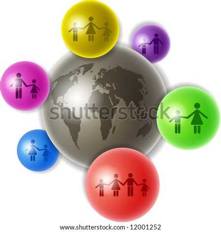 world of families - stock photo